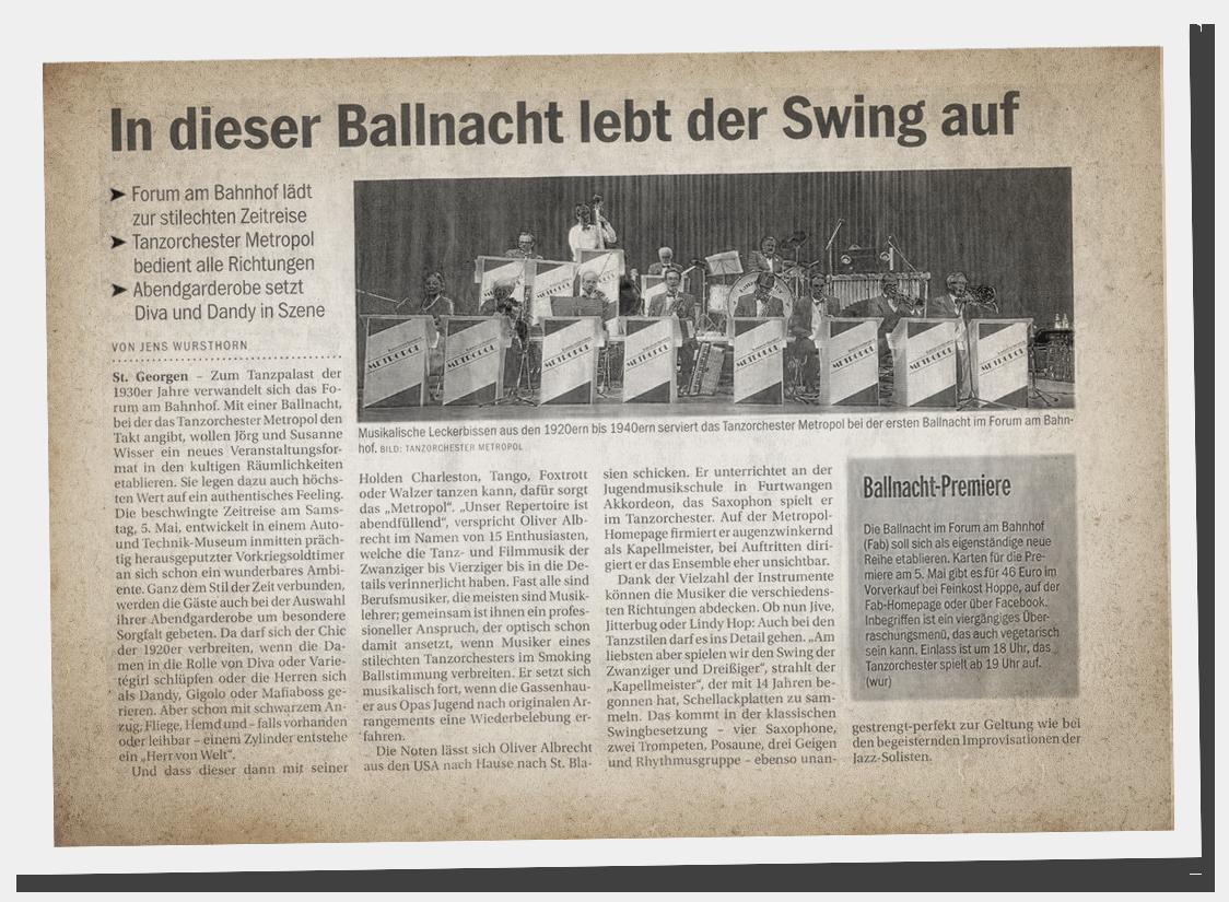 Forum am Bahnhof holt Tanzorchester zur Ballnacht